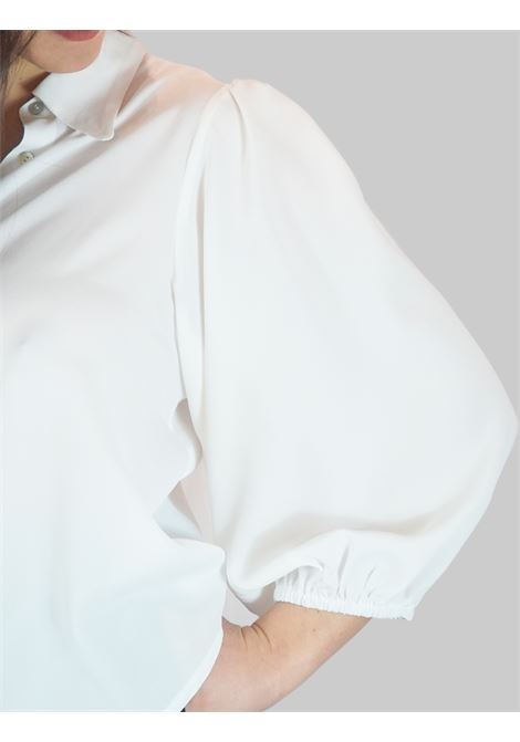 Women's Clothing White Silk Blend Shirt with Puff Sleeves Mercì | Shirts and tops | C305100