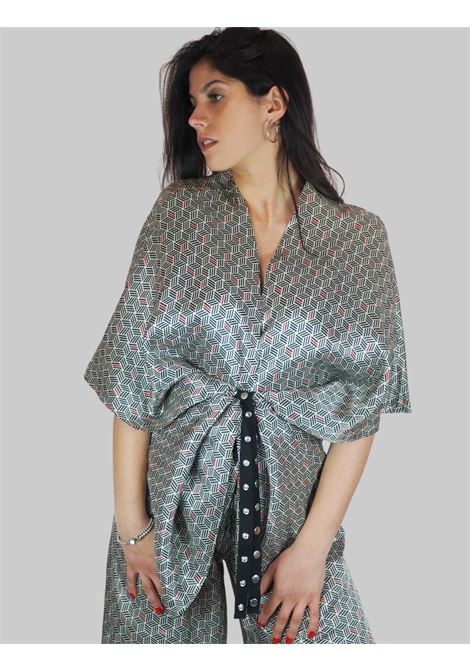 Abbigliamento Donna Giacca Kimono Bianco e Nero con Cintura Regolabile e Bottoni Automatici Mercì | Giacche e giubbini | G135P900