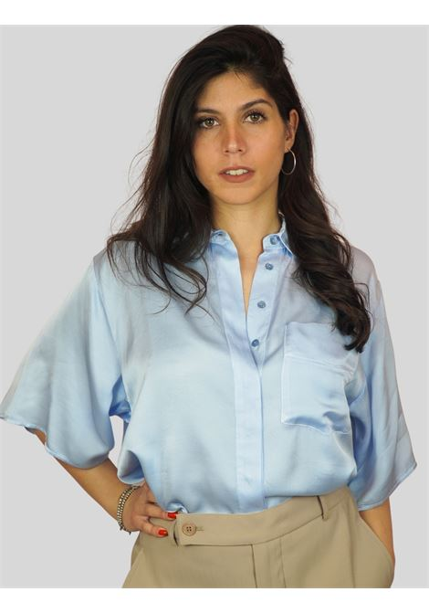 Women's Clothing Light Blue Shirt Half Short Sleeve and Over with Concealed Buttons Mercì | Shirts and tops | MC190400