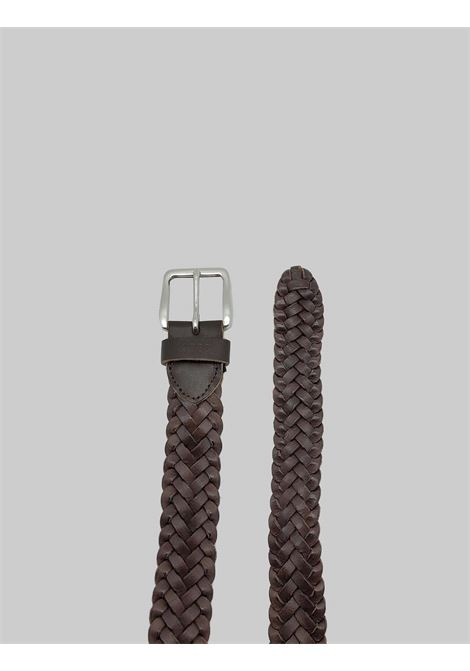 Men's Accessories Braided Belt in Dark Brown Leather Minoronzoni | Belts | MRS214C19013
