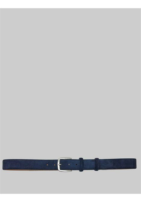 Men's Accessories Belt in Micro-perforated Blue Suede Minoronzoni | Belts | MRS215C022002