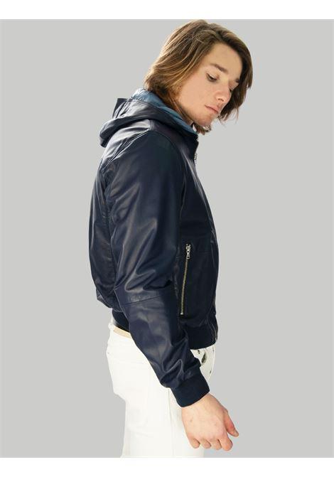 Abbigliamento Uomo Giubbino in Pelle Blu Reversibile con Cappuccio Minoronzoni | Giacche e giubbini | MRS215J207002