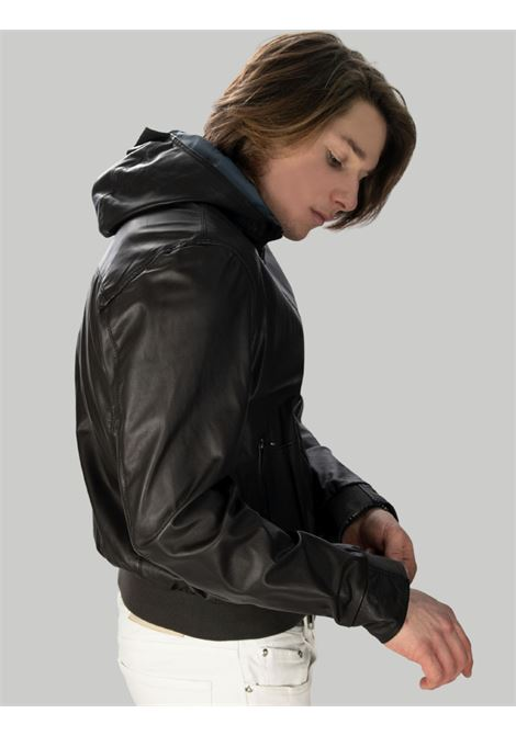 Men's Clothing Dark Brown Reversible Leather Jacket with Hood Minoronzoni |  | MRS215J207013