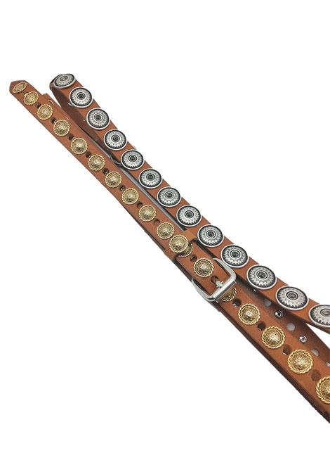 Women's Accessories Double Loop Leather Belt with Gold and Silver Studs Nanni Milano | Belts | N318014