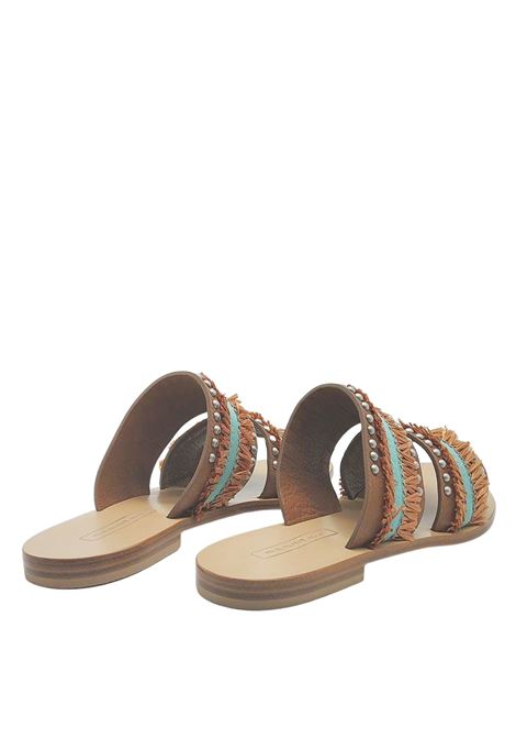 Women's Shoes Low Sandals in Tan Leather with Double Band with Fringes with Leather Sole Nanni Milano | Flat sandals | NS801014