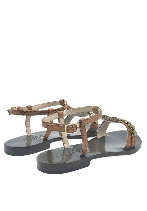Calzature Donna Sandali Bassi in Pelle Bronzo con Borchie e Cinturino con Suola in Cuoio Nanni Milano | Sandali Flat | NS87601