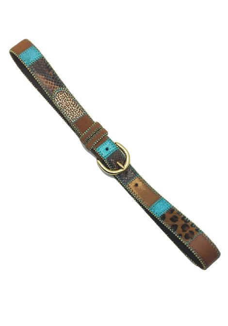 Women's Accessories Belt in Multicolored Leather and Leopard Nanni | Belts | N167500