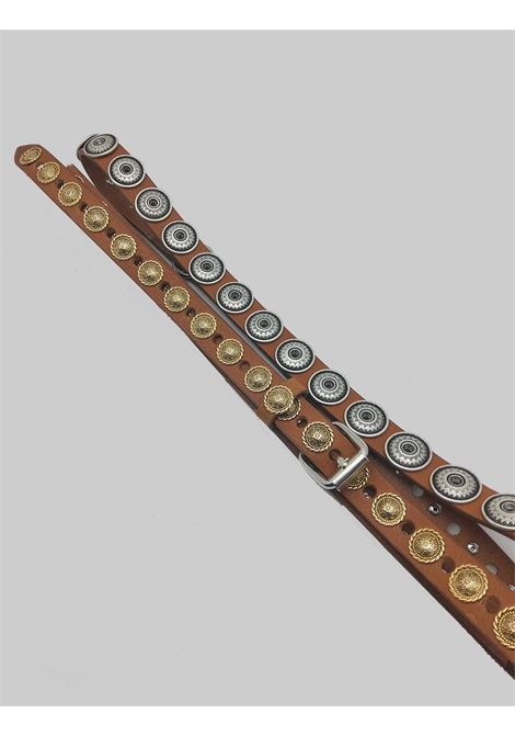 Women's Accessories Double Loop Leather Belt with Gold and Silver Studs Nanni | Belts | N318014