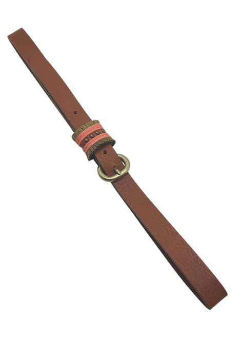 Women's Accessories Low Belt in Tan Leather with Embroidered Loop Nanni | Belts | N800014