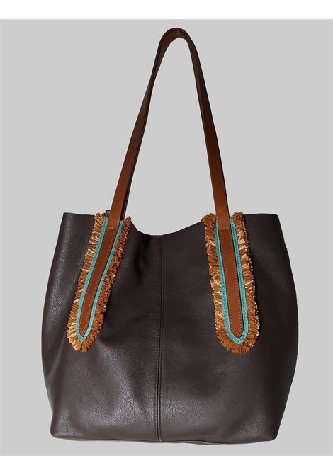 Woman Shoulder Bag in Dark Brown Leather with Double Handles in Natural Leather Nanni | Bags and backpacks | NMINI25013