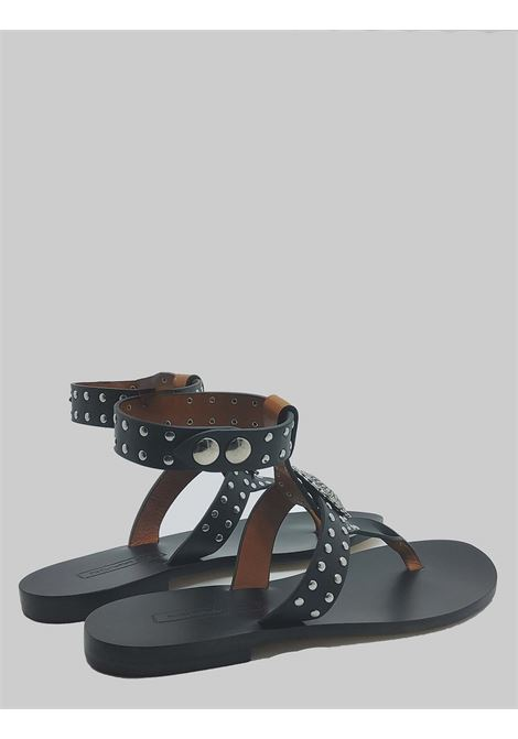 Women's Shoes Flat Sandals in Black Leather with Studs and Strap with Leather Sole Nanni | Sandals | NS508001