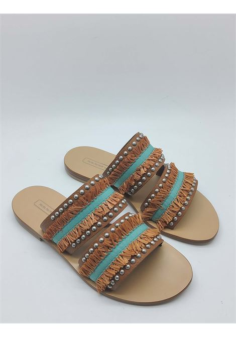 Women's Shoes Low Sandals in Tan Leather with Double Band with Fringes with Leather Sole Nanni | Sandals | NS801014