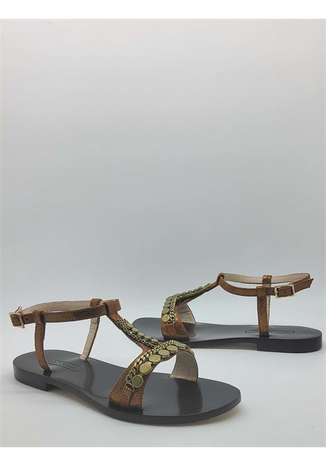 Women's Shoes Low Sandals in Bronze Leather with Studs and Strap with Leather Sole Nanni | Sandals | NS87601