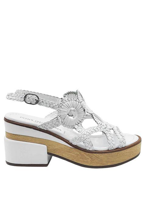 Calzature Donna Sandali in Pelle Intrecciata Bianca con Cinturino Posteriore e Zeppa in Legno Pons Quintana | Sandali | 9226100