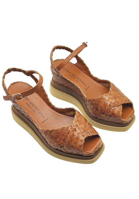 Women's Shoes Leather Braided Leather Sandals with Ankle Strap and High Wedge Pons Quintana | Wedge Sandals | 9250014