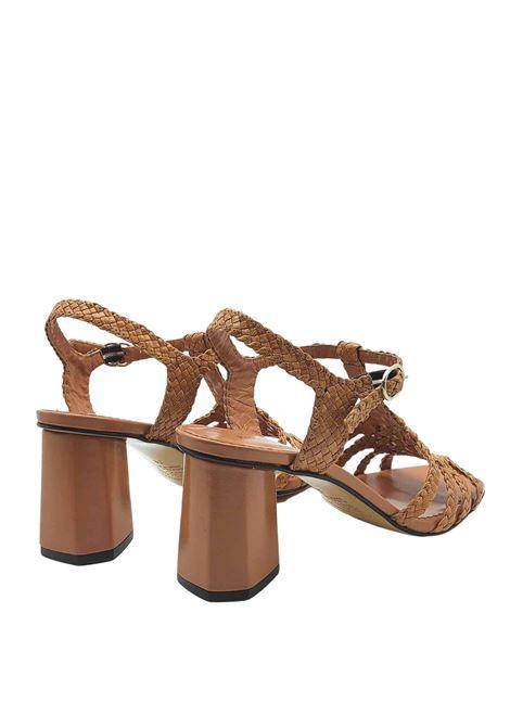 Calzature Donna Sandali in Pelle Intrecciata Cuoio con Cinturino alla Caviglia Tacco Alto e Suola in Cuoio Pons Quintana | Sandali | 9256014