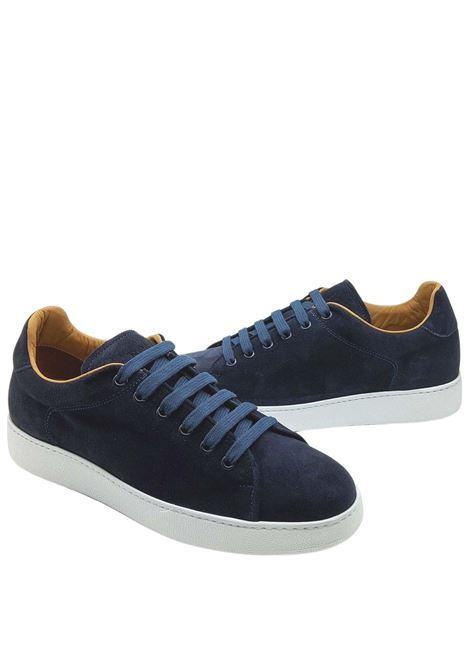 Men's Shoes Sneakers Lace-up in Blue Suede Leather Lining and White Rubber Bottom Rogal's | Sneakers | MUR1002