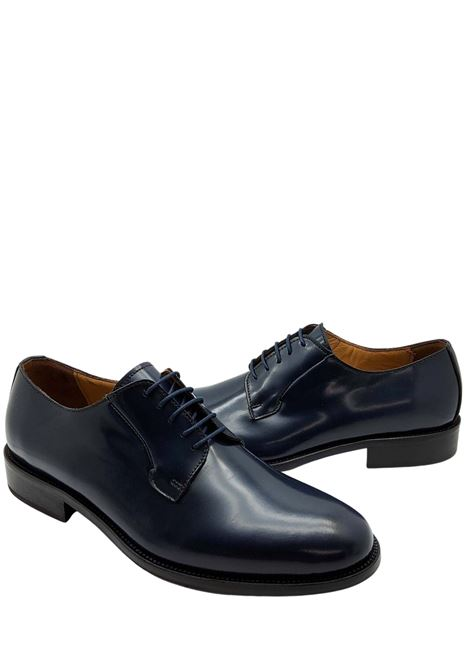 Men's Lace-up Shoes in Blue Leather with Leather Bottom and Leather Lining Rogal's | Lace up shoes | PIAN6002