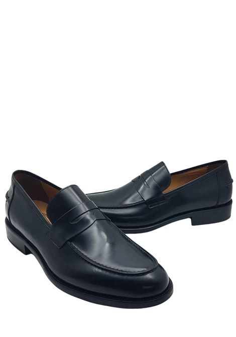 Men's Shoes Black Leather Loafers with Leather Lined Band and Stitched Leather Bottom Rogal's | Mocassins | PIANTA1001