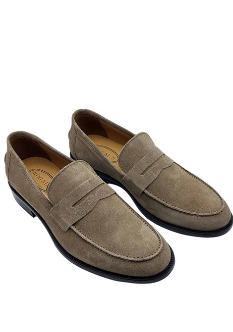 Men's Shoes Moccasins in Taupe Suede with Band Lined in Leather and Stitched Leather Bottom Rogal's | Mocassins | PIANTA1023