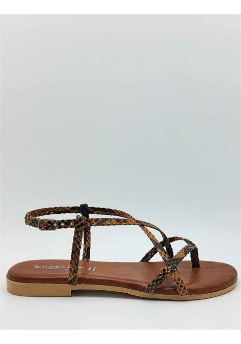 Women's Shoes Flat Sandals Flip Flops in Leather Python Print Fabric and Ankle Strap Sandro Rosi | Sandals | 274P014