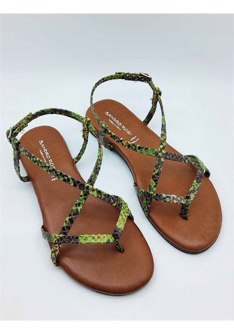 Women's Shoes Flat Sandals Flip Flops in Green Python Print Fabric and Ankle Strap Sandro Rosi | Sandals | 274P505