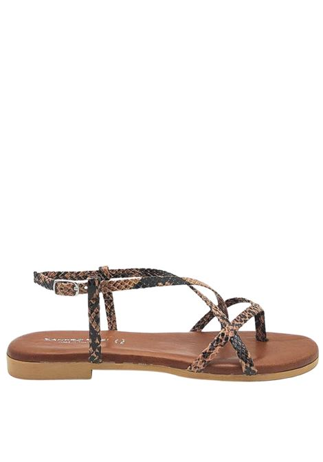Women's Shoes Flat Sandals Flip Flops in Pink Python Print Fabric and Ankle Strap Sandro Rosi | Sandals | 274P506