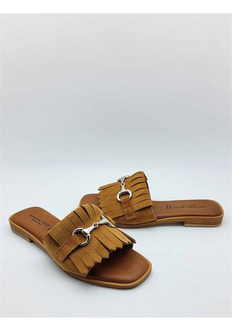 Women's Shoes Low Sandals in Leather Suede with Fringes and Gold Horsebit Sandro Rosi | Sandals | 3228014