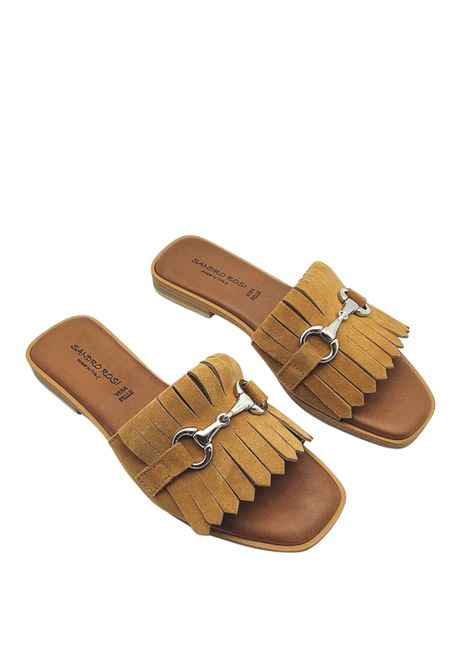Women's Shoes Low Sandals in Leather Suede with Fringes and Gold Horsebit Sandro Rosi | Flat sandals | 3228014