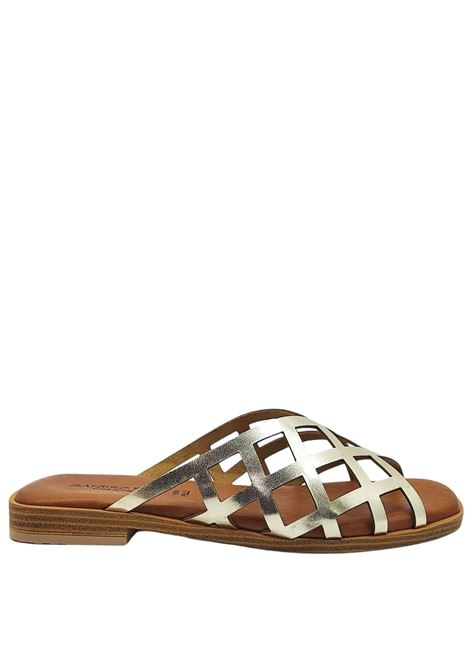 Women's Shoes Flat Sandals in Platinum Laminated Leather with Padded Insole Sandro Rosi | Sandals | 3289600