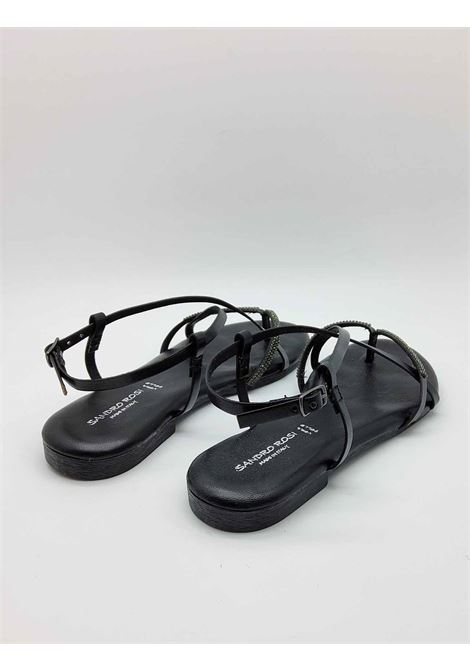 Women's Shoes Flat Flip Flops Sandals in Black Leather with Rhinestones and Ankle Strap and Rubber Bottom Sandro Rosi |  | 3292001