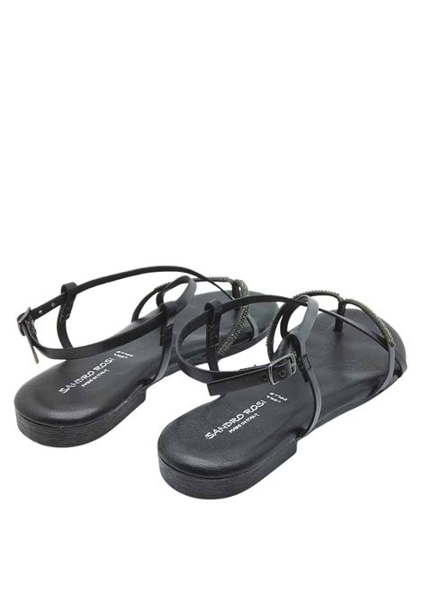 Women's Shoes Flat Flip Flops Sandals in Black Leather with Rhinestones and Ankle Strap and Rubber Bottom Sandro Rosi | Flat sandals | 3292001