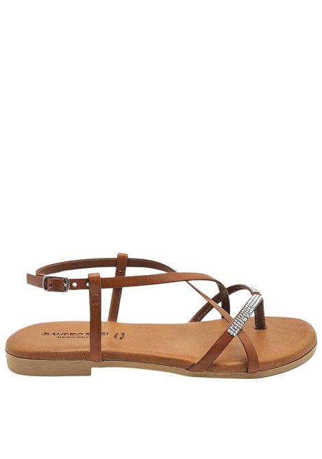 Women's Shoes Low Flip Flops Sandals in Tan Leather with Rhinestones and Ankle Strap and Rubber Bottom Sandro Rosi |  | 3292014