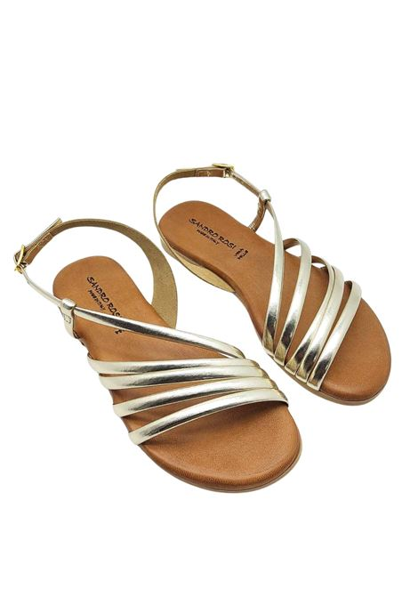 Women's Shoes Flat Sandals in Platinum Leather Ankle Strap and Rubber Bottom Sandro Rosi | Flat sandals | 3293600