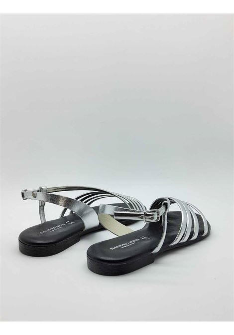 Women's Shoes Low Sandals in Silver Leather Ankle Strap and Rubber Bottom Sandro Rosi |  | 3293604