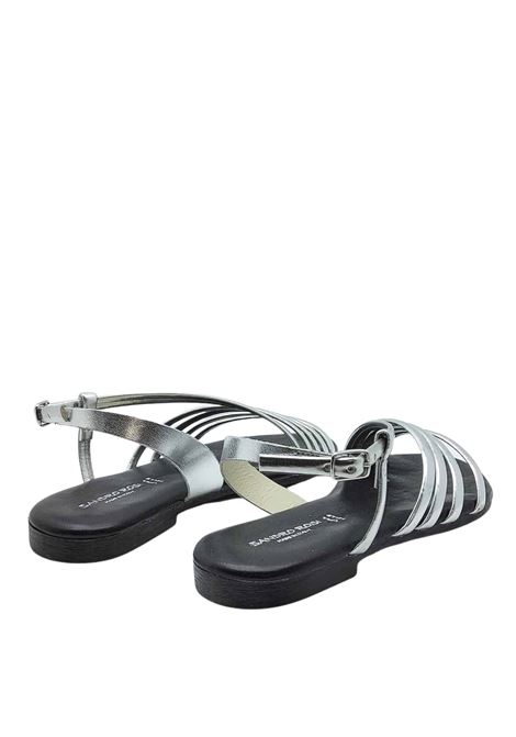 Women's Shoes Low Sandals in Silver Leather Ankle Strap and Rubber Bottom Sandro Rosi | Flat sandals | 3293604