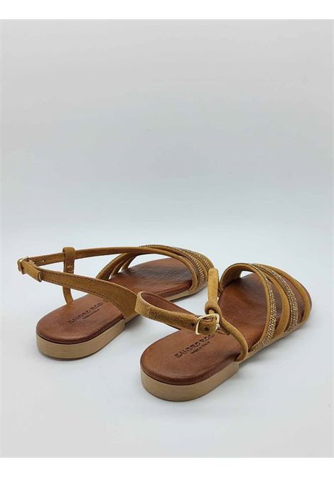 Women's Shoes Low Sandals in Leather Suede with Rhinestones Ankle Strap and Rubber Bottom Sandro Rosi |  | 3294014