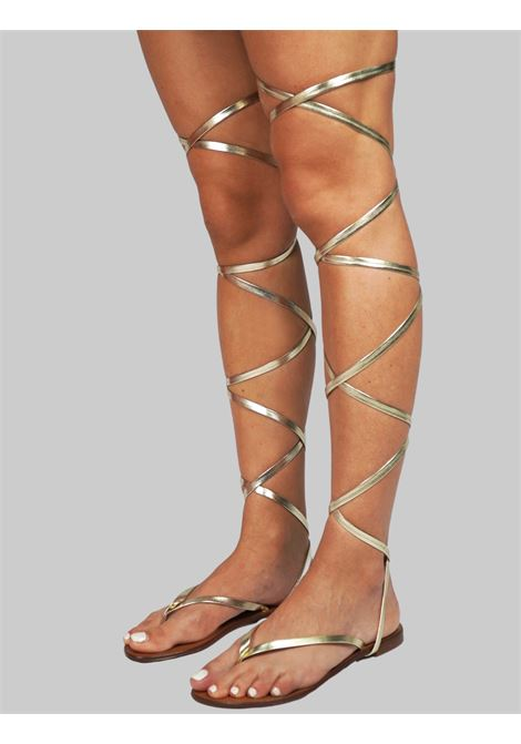 Women's Shoes Flat Flip Flops Sandals in Platinum Eco Leather with Long Laces up to the Knee Sandro Rosi |  | 3295600