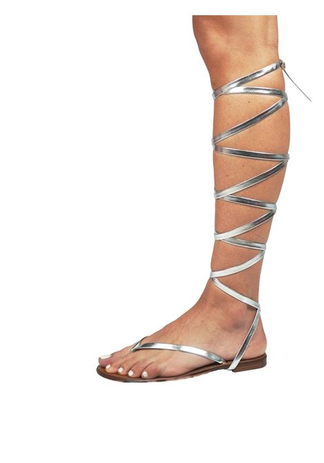 Women's Shoes Flat Flip Flops Sandals in Silver Eco Leather with Long Laces up to the Knee Sandro Rosi |  | 3295604