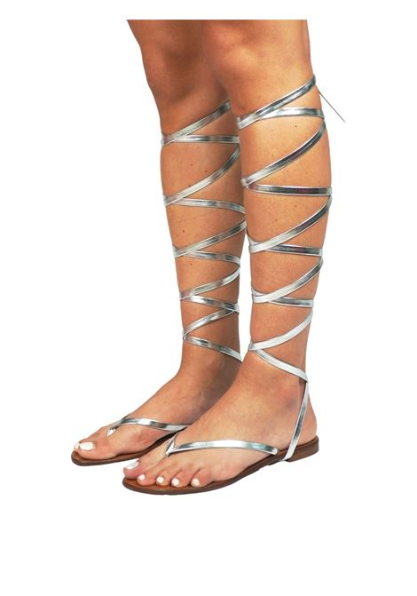 Women's Shoes Flat Flip Flops Sandals in Silver Eco Leather with Long Laces up to the Knee Sandro Rosi | Flat sandals | 3295604