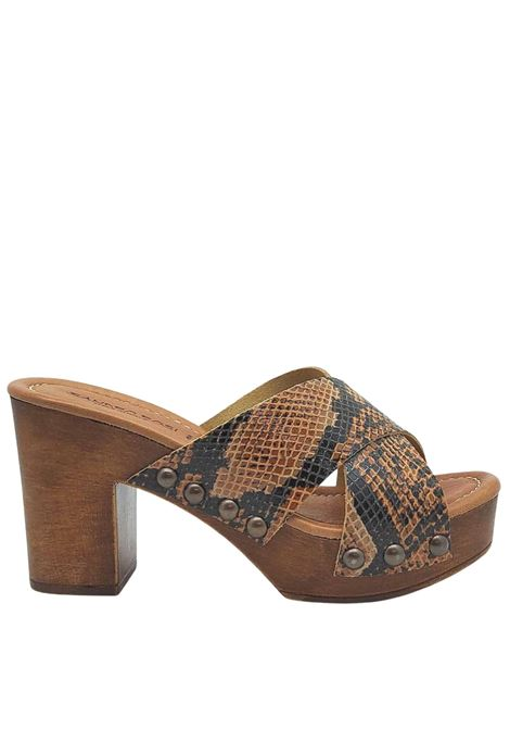 Women's Shoes Python Printed Leather Sandals with Wooden Wedge Sandro Rosi |  | 7024014