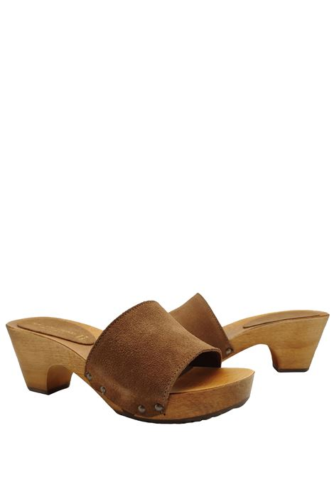 Women's Shoes Sandals Clogs in Leather Suede with Nailed Upper and Wooden Wedge Sandro Rosi | Sandals | 7056014
