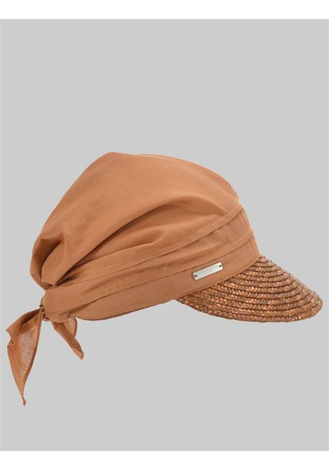 Women's Accessories Bandana Hat Cap in Terracotta Fabric with Braided Straw Visor Seeberger Est 1890 | Hats | 0511750080