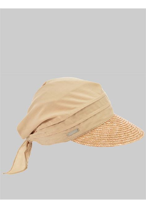Women's Accessories Hat Bandana Hat in Beige Fabric with Braided Straw Visor Seeberger Est 1890 | Hats | 0511750094
