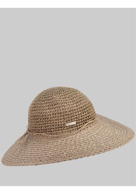 Women's Accessories Wide-Brimmed Hat in Taupe Color in Crochet Straw Seeberger Est 1890 | Hats | 0539180086