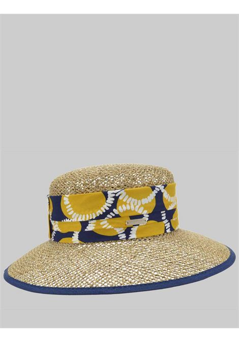Women's Accessories Natural Woven Straw Hat with Wide Brim and Patterned Fabric Carrying Seeberger Est 1890 | Hats | 0548884361