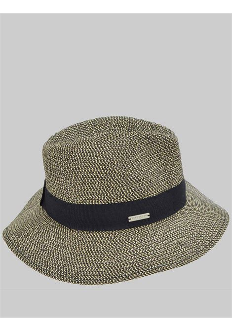 Women's Accessories Black and Natural Bicolor Straw Hat with Dark Band Seeberger Est 1890 | Hats | 0548910010