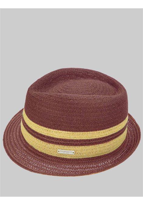 Accessori Donna Cappello in Paglia e Cotone Intrecciato Colore Barolo con Fasce a Contrasto Seeberger Est 1890 | Cappelli | 0803402393