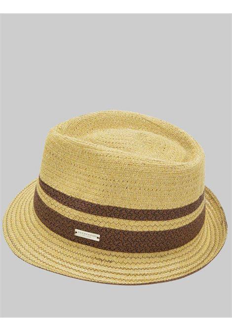 Accessori Donna Cappello in Paglia e Cotone Intrecciato Colore Sabbia con Fasce a Contrasto Seeberger Est 1890 | Cappelli | 0803409380