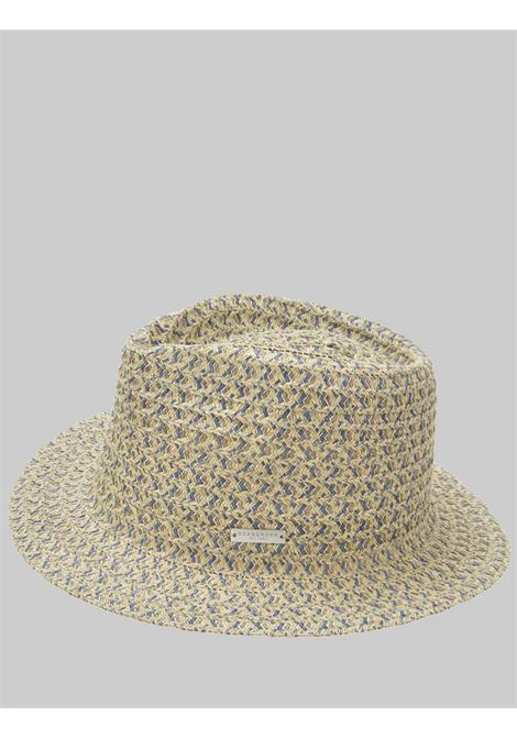Women's Accessories Hat in Fabric and Braided Hemp in Sand and Denim Seeberger Est 1890 | Hats | 0803486293